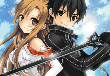 Kirito Asuna - pretty, adorable, magic, women, sweet, love, anime, handsome, beauty, anime girl, weapon, long hair, sword, fairy, lovely, romance, ribbon, gown, amour, blonde, cute, lover, asuna, maiden, dress, divine, adore, beautiful, sublime, woman, kirito, blade, hot, couple, gorgeous, female, male, romantic, exquisite, brown hair, kirigaya kazuto, yuuki asuna, sword art online, blonde hair, brown eyes, kawaii, boy, girl, blue hair, precious, magical, black eyes, lady, angelic