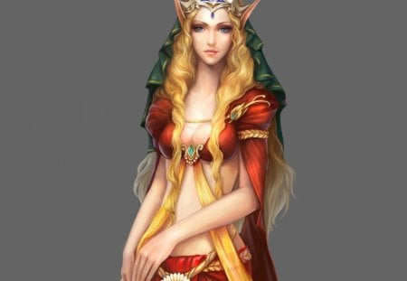 Elf girl - fantasy, girl, art, abstract, crown