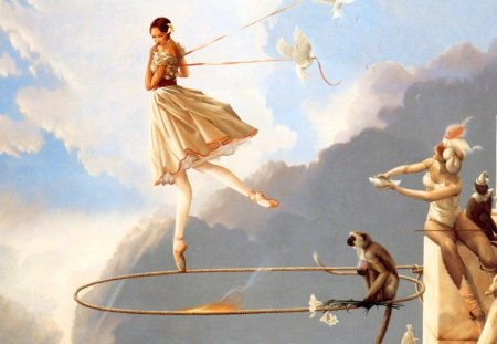 Misc Art Work by Michael Parks - ribbons, rope, sky, clouds, wall, women, monkey, fire, doves, flames, ballet, hoop