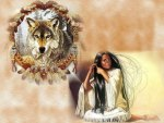 Native Woman and Wolf Spirit