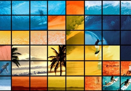 Surf Dreams - sunset, blue, surfer, ocean, photography, water, wave, surf, yellow, orange, collage dream, dreams, beach, palms