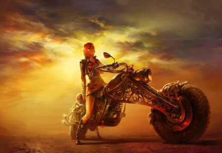WitchBike - witchbike, fantasy, sun, anime, burning, moto, abstract