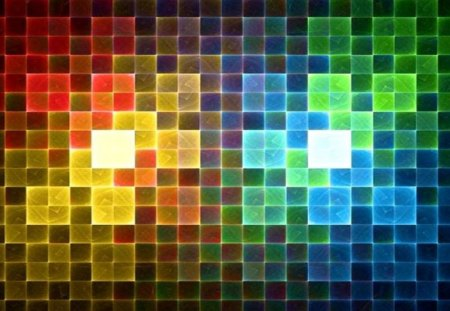 Tiled Rainbow - tiled, rainbow colours, squares