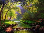 Calm forest river