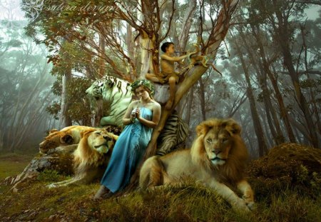 Hear my Song - song, fantasy, lion, animals