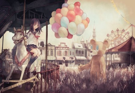 Have A Balloon - colorful, bear, carnival, girl, carousel, anime, merry go round, ballons, mascot