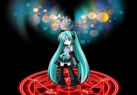 Miku Transmutation - Miku, Transmutation circle, Anime, Long Hair, Turquoise Hair