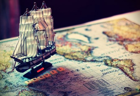Explorer - world, photography, ship, beautiful, explorer, abstract, continents, map
