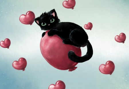 Happy Valentines Day Kitten - Valentines, Happy, balloon, Day, hearts, cute, Kitten, Love