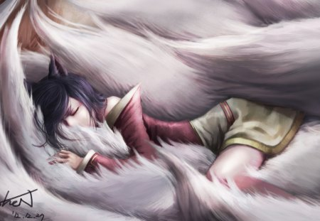 Leauge of legends - Leauge of legends, girl, animal ears, cg, tails, ahri, black hair