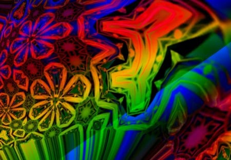 Rainbowed Flower Power - red, orange, flowerchild, co11ie, yellow, rainbow, psychedelic, green, flowers, hippie, pink, blue, flowerchildren, homemades, rainbowed, multicolored, flower power, hippies