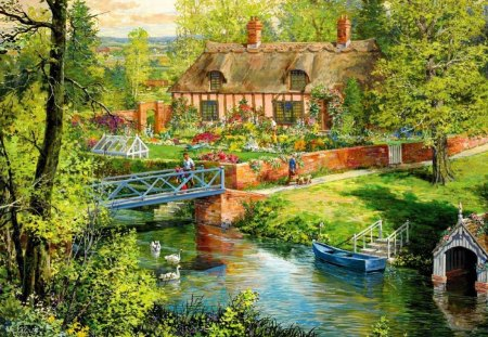 Blue bridge - stream, pretty, house, cottage, cabin, beautiful, countryside, nice, boats, bridge, painting, river, reflection, blue, rustic, calmness, lovely, greenery, creek, swans, lake, pond, water, peaceful, summer