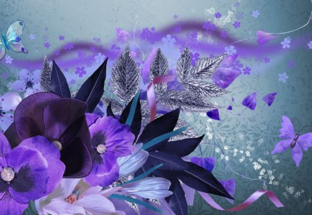 Touch of Midnight - fleurs, ribbon, design, butterflies, scatter, collage, leaves, purple, dark, papillon, flowers, blue