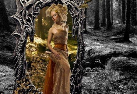 Step by Step - forest, fantasy, mirror, girl