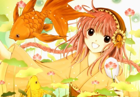 Kobato - Kobato, kimono, goldfish, girl