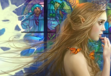 Elf Girl - fantasy, butterfly, girl, stained glass, elf, orange butterflies, woman