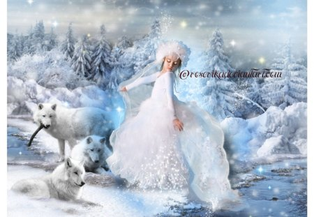 DANCE WITH WOLVES - WOLVES, DANCE, SNOW, FEMALE, DRESS, WINTER, CHILD, WHITE