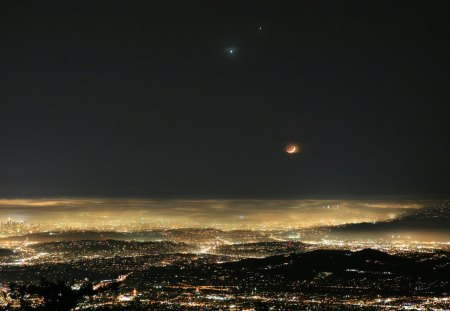 moon over panoramic los angeles - moon, lights, city, night