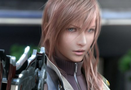 Claire Lightning Farron with gunblade - clear no add-ons - Final Fantasy, video game girl, Farron, ff13, pretty girl, girl with a gun, beautiful, square enix, Lightning, Gunblade, Claire Farron, ffxiii, hot, face, blue eyes, pretty face, Final Fantasy 13, beautiful girl, Claire, hottest, Final Fantasy XIII, pink hair