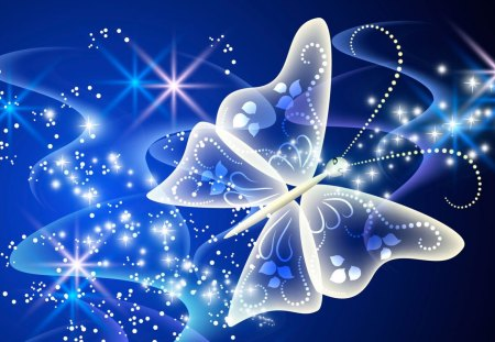 The Magical Butterfly - stars, glow, lustre, shine, butterflies, abstract, glimmer, sparkle, butterfly, luster, papillon