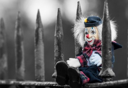 Clown doll - toy, fence, clown, dool
