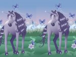 Violete Unicorns with Butterflies in a Fairy Land