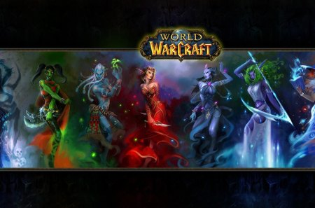 World of Warcraft - games, female, white hair, world of warcraft, warcraft, video games, axe, knife, weapons, scythe, blood elf, night elf, females, green hair, orange hair, dagger