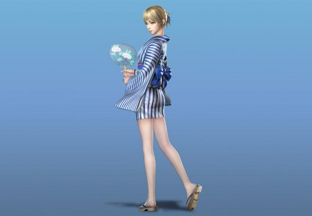 Wang Yuanji - games, female, wang yuanji, video games, kimono, dynasty warriors, girl, blue background, lone, yuanji wang, fan
