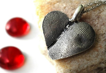 Silver heart - day, heart, red, jewelry, valentine, precious, stones, silver, love
