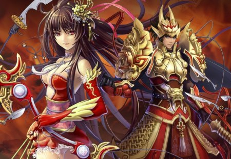 Samurai Couple - couple, game, samurai, anime, warrior