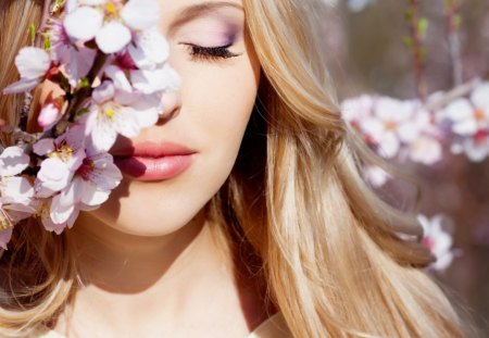 * Tender touch * - touch, soft, spring, lips, make-up, girl, tenderness, nature, face, sunshine