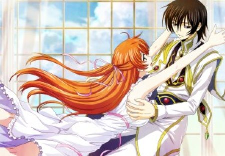 Bokura no Love Story - code geass, guy, shirley fenette, anime, love, geass, handsome, anime girl, long hair, couple, female, male, window, romantic, romance, brown hair, shirley, short hair, boy, girl, zero, lamperouge, lelouch lamperouge, lover, lelouch, orange hair
