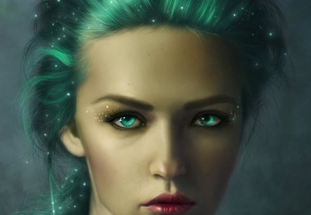 Woodland Elf - fantasy, blue eyes, elf, female, blue hair