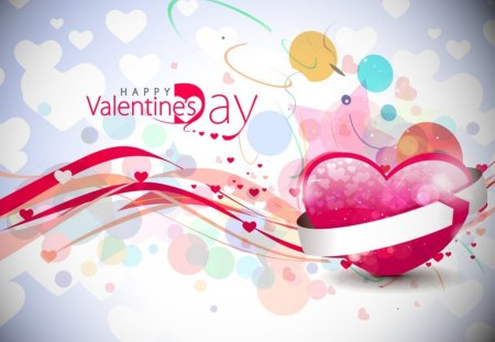 Happy Valentine's Day - colorful, message, heart, words, Valentines day, lines, abstract, style