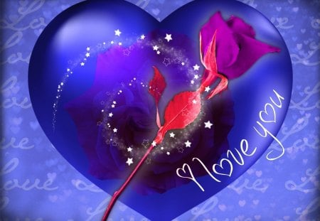 I Love You Heart Wallpaper 3d     Blue Valentine Heart