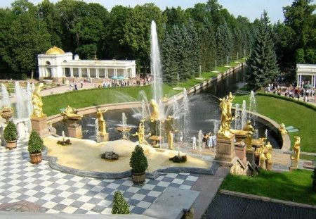 Peterhof, St. Petersburg, Russia - fountain, st petersburg, statur, view, golden, park, peterhof, tree, water, green, russia, castle