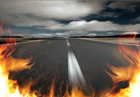 fire road - fire, road, street, car