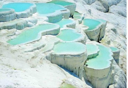 pamukkale Turkey - mineral, springs, white, cliffs