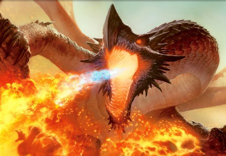 Dragon Burn - fire, flame, magic, serpent, dragon, wing