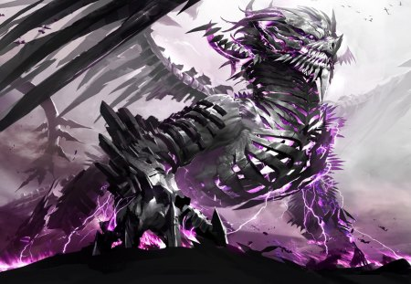 Purple Frac Dragon - lightning, fractal, pruple, monster, dragon, dragons