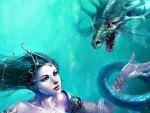 A princess and his dragon pet