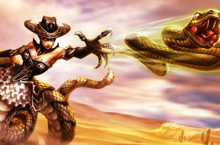 Cassiopeia - red, desert, fighter, league of legend, game, black, yellow, serpent, hat, fantasy, girl, cassiopeia, snake