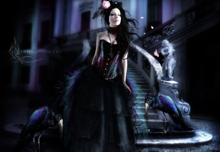 **BEAUTIFUL GOTHIC ** - pretty, colorful, Women, Female, beautiful, Dark, sweet, splendor, gothic, Carnival, Crying Silence, Abstract, Digital Art, vulture, Model Luria, ladders, lovely, Madlen, colors, Girls, Fantasy, hat, Photomanipulation, cool, flower, crow, scene