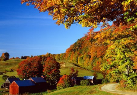 Woodstock In Autumn  Vermont - nature, landscape