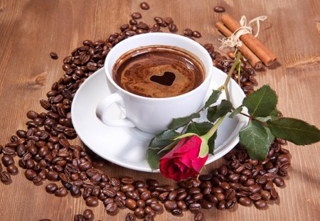 ♥Morning Love♥ - lovely, rose, cinnamon, beautiful, coffee beans, red rose, photography, coffee, love, heart, cup, morning