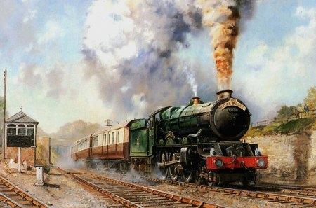 Steam Train - steam, paint, train, green