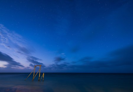 starry starry eve - wooden bracket, stars, evening, sea
