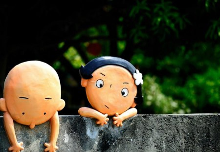 Cute Figurines - romance, plant, figurines, cute, nice, green, crazy, boy and girl, love, beauty, funny, couple