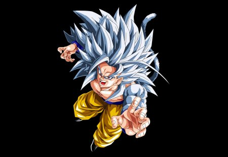 Super Saiyan 5 Goku - goku, dragonball af, dbz, dragonballz, tail, white hair, ssj5, dbaf, spiky hair, dragonball, son goku, black background, anime, red eyes