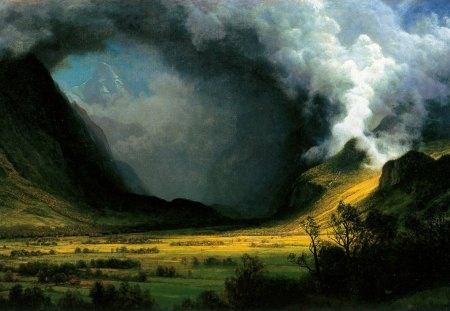Coming storm in the valley - forest, Albert Bierstadt, storm, valley, mountain, pagan, nature, celtic, viking